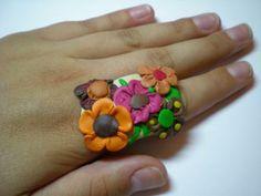 anillo floral de fimo anillo en fimo fimo,elementos de bisutería manual