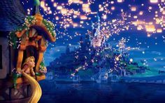 Tangled rapunzel 13x19 inch poster Boat Lights Wall Art Decor  PERSONALIZE FREE