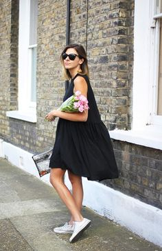 simple black dress, converse