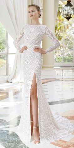 rosa clara wedding dresses with long sleeves sexy beaded embroidered with slit 2019 wedding dresses rosa clara Rosa Clara Wedding Dresses 2020 Collection Country Bridesmaid Dresses, Maternity Bridesmaid Dresses, Western Wedding Dresses, Wedding Dress Sizes, Colored Wedding Dresses, Elegant Wedding Dress, Bridal Dresses, Girls Dresses, Lace Wedding