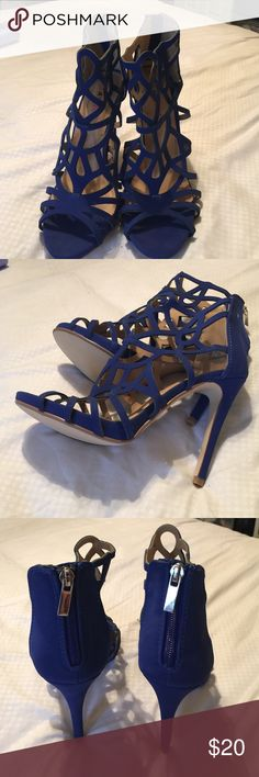 "Beautiful 4"" heels perfect with sundress or jeans Electric blue sandal by Just Fab never worn JustFab Shoes Sandals"