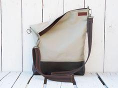 leather tote - canvas totes - beige brown -fold over bag - crossbody bag - messenger bag - UNISEX