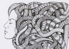 """""""Medusa"""" by Pris Roos on Saatchi Netherlands Drawing, pen and ink Size: 11.7 x 16.5 x 0.4 in"""