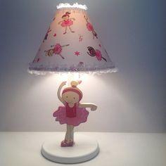 Ballet and jazz ballerina pink table lamp for girl room decoration or ballerina gift. Handmade by Under Ten CR (www.undertencr.net)