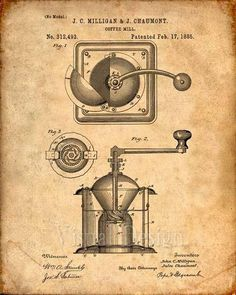 This is a print of the patent drawing for a coffee mill patent from 1885. The original patent has been cleaned up and enhanced to create an attractive display piece for your home or office. This is a great way to put your interests and hobbies on display. Wonderful gift idea as well.