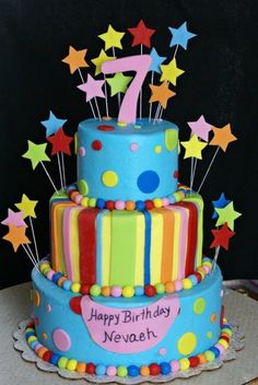 Great general kids birthday cake.  Stars, Stripes and Polka Dot Cake By kguy22169 on CakeCentral.com