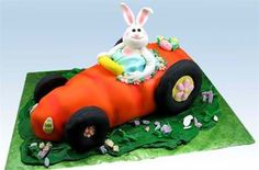 """""""Bunny-Anapolis 500"""" Easter Carrot Car Cake by Susan Carberry - From the imagination of Susan Carberry, here comes a speed racer carrot car with the Easter Bunny inside!  """"Bunny-Anapolis 500"""" is a creative, easier-than-it-looks Easter cake designed to impress. Learn how to make an adorable fondant bunny, and set him inside of a fondant-covered roadster."""