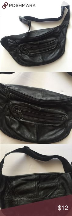 cb5b1b0cc2ad Black leather waist fanny bag