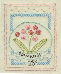 4.The Girls Own Stitching Club- Primrose Sampler. How to: blanket stitch, pinwheels, &fly stitch