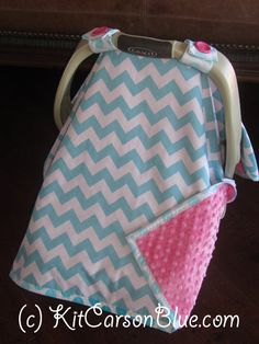 Super Cute Baby Car Seat Covers CHEVRON in Teal by kitcarsonblue