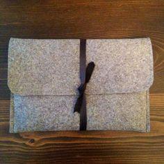 Creating a custom DIY felt and leather laptop sleeve.
