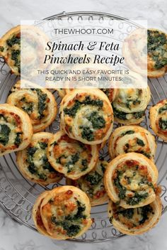Spinach And Feta Pinwheels 4 Ingredient Recipe Spinach Puff Pastry, Puff Pastry Recipes, Puff Pastry Appetizers, 4 Ingredient Recipes, Pinwheel Recipes, Snacks Für Party, Parties Food, Party Appetizers, Party Games