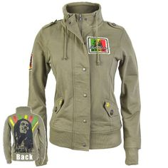 Amazon.com: Bob Marley - Military Juniors Jacket - Old Glory Exclusive: Clothing