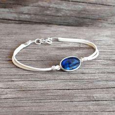 Bracelet cordon pierre de cyanite bleue en argent 925 Bracelet fin pierre bleue sur cordon blanc Bracelet