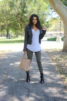 durrani popal   olive skinnies   tee   leather jacket