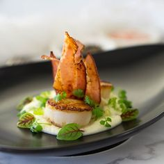 Learn how to make perfect pan seared scallops with cauliflower puree and hickory smoked bacon. The most delicious first course for a romantic dinner. Dinner Party Recipes, Entree Recipes, Seafood Recipes, Gourmet Recipes, Appetizer Recipes, Scallop Dishes, Scallop Recipes, Gourmet Appetizers, Gourmet Food Plating