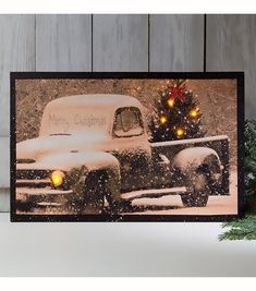 Lighted Merry Christmas Old Time Truck Canvas