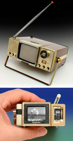 Sony 4-204UW 'Walkie Watchie' 4-inch TV. This black & white television was made in Japan in 1965. It's interesting to see how this 'walking' theme was on Sony's mind even then, leading eventually to their groundbreaking 1979 device, the Sony Walkman TPS-L2. Bottom: Panasonic TR-1030P Travelvision 1.5-inch black & white TV (1984, Japan). From 'Vintage Televisions' at the web's largest private collection of antiques & collectibles: https://www.ericwrobbel.com/collections/tv.htm