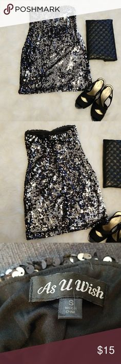 Strapless sequined dress Super cute strapless sequined dress. Gently worn once or twice. Great for Friday night out or even Homecoming! As U Wish Dresses Mini