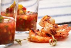 Melon Gazpacho Shooters with Spicy Grilled Shrimp from chef Cat Cora - Great use for your Summer Veggies and Fruits Dinner Party Recipes, Appetizers For Party, Dinner Parties, Gazpacho, Spicy Grilled Shrimp, Cooked Shrimp, Iron Chef, Guacamole Recipe, Shrimp Recipes