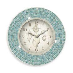 Blue Mosaic 11 1/2-Inch Seashell Clock - BedBathandBeyond.com