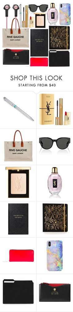 """""""what's in my bag?"""" by annabellispeterson ❤ liked on Polyvore featuring Tiffany & Co., Yves Saint Laurent, Smythson, Comme des Garçons, Gucci and Bang & Olufsen"""