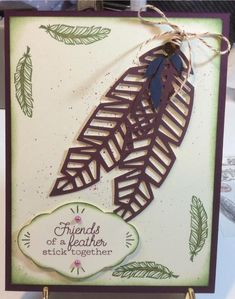 Colors used: Mossy Meadow and Blackberry Bliss. Saved from Paper Pumpkin Fan Club on FB Fall Cards, Christmas Cards, Feather Cards, Stampin Up Paper Pumpkin, Pumpkin Cards, Thanksgiving Cards, Card Patterns, Stamping Up, Greeting Cards Handmade
