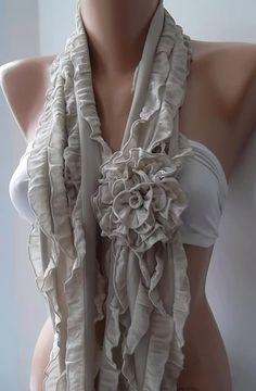 Beige - Chiffon - Ruffle - Rose Shawl/ Scarf - Headband -Cowl with Lace Edge - Rose Scarf