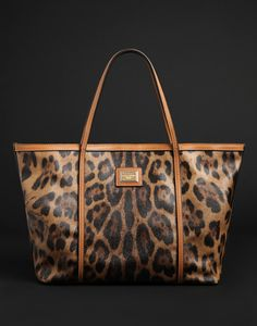 Animal print large leather bag