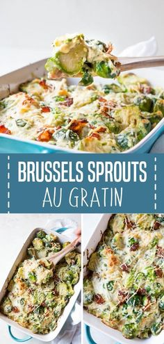 Brussels sprouts au gratin is an easy Thanksgiving side dish recipe perfect for your holiday dinner parties! This simple Easy Vegetable Side Dishes, Best Side Dishes, Side Dish Recipes, Vegetable Recipes, Easy Recipes, Veggie Dishes, Bread Recipes, Diet Recipes, Main Dishes