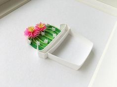 Cute little quilled and paper cut cactus by Akiko Makihara