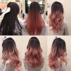 #hair #hairstyle #hairdresser #beforeandafter #ombre #ombrehair #balayageombre #pink #pinkhair #rosegold #rosegoldhair #salon…