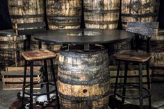 Jack Daniel's Bar Table Jack Daniels Whiskey Barrel, Russian Pastries, Jack Daniel's Tennessee Whiskey, Famous Drinks, Barrel Table, Islands In The Pacific, Backyard Bar, Appetizer Plates