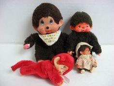 Lot 4 vintage Monchhichi dolls pocket doll clip-on RARE