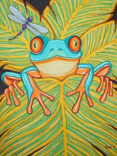 Red Eyed Tree Frog and Dragonfly
