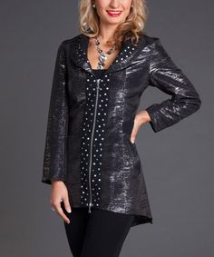 Take a look at this Firmiana Black Fitted Zipper Jacket on zulily today!