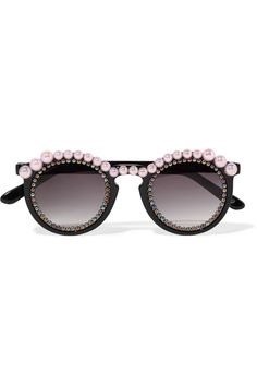 Freda Banana - Jane Round-frame Embellished Acetate Sunglasses - Black - one size Eclectic Frames, Casual Summer Outfits For Women, Round Frame Sunglasses, Effortless Chic, Diy Clothing, Eyewear, Chokers, Banana, Accessories