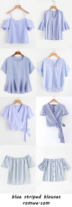 blue striped blouses 2017 - romwe.com