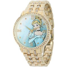 Disney Cinderella Womens Crystal-Accent Gold-Tone Bracelet Watch ($70) ❤ liked on Polyvore featuring jewelry, watches, wide cuff bracelet, bracelet watches, bezel watches, bezel bracelet and magnetic clasp bracelet