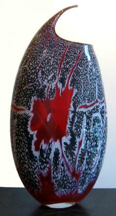 Jared Davis Visitor Series Red Art Glass Vase