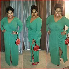 """ASOS CURVE PLUS green floor length wrap dress xmas Excellent condition long sleeve long dress I'm 5'5"""" had to wear heels at least 3"""" totally cute, pleats in the front flatter tummy area, thicker fabric not thin or see through,  fit stretches and roomy for size 18 worn once could fit a 20, great holiday or Christmas party dress ASOS Dresses"""