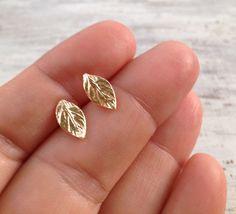 Gold earrings, stud earrings, leaf earrings, gold filled earrings, gold stud earrings, simple stud earrings -20063