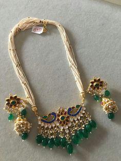 Indian Wedding Jewelry, Bridal Jewelry, Beaded Jewelry, Stylish Jewelry, Fashion Jewelry, Emerald Jewelry, Gold Jewellery, Jewelery, Rajputi Jewellery
