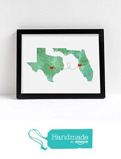 Any Two States - WATERCOLOR series - Love Wedding Gift Personalized State Custom Location Modern Art Print Long Distance Map Art Engagement Bridal Shower Gift from Embie Design http://www.amazon.com/dp/B01CEM02EA/ref=hnd_sw_r_pi_dp_sRbmxb0S924DX #handmadeatamazon