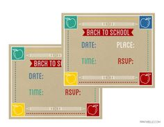 Free back to school printable party invitations at Catch My Party