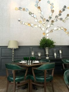 "Hand Mirror wall @ Los Angeles' ""Faith & Flower"" restaurant, designed by Avroko."