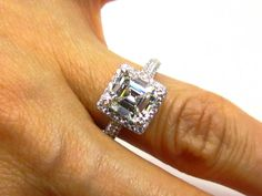 Large GIA 3.35ct Estate Vintage ASSCHER, Square Emerald Cut Step Cut Diamond Engagement Wedding Ring in 18K White Gold Pave Halo Setting on Etsy, $16,500.00