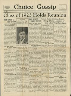 """A page from """"Choice Gossip"""" dated June 4th 1927 which details updates for the class of 1923."""