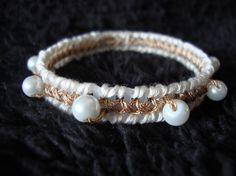 Gold & Pearl Bangle Bracelet by MastersCreations on Etsy, $10.00