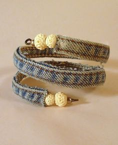 DIY Denim Bracelet #upcycled #earthday #diy